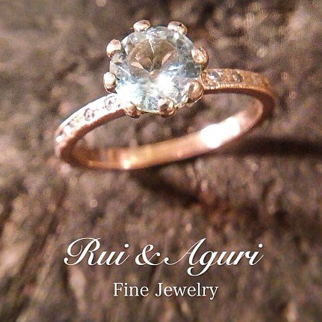 Aquamarine diamond gold engagement ring Rui & Aguri Fine Jewelry