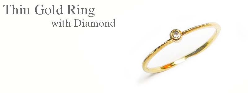 Thin Yellow Gold Ring with Diamond Rui & Aguri Fine Jewelry