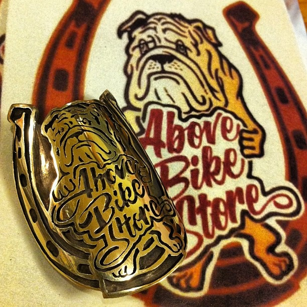 Bulldog motif bicycle head badge emblem by Rui & Aguri Fine Jewelry