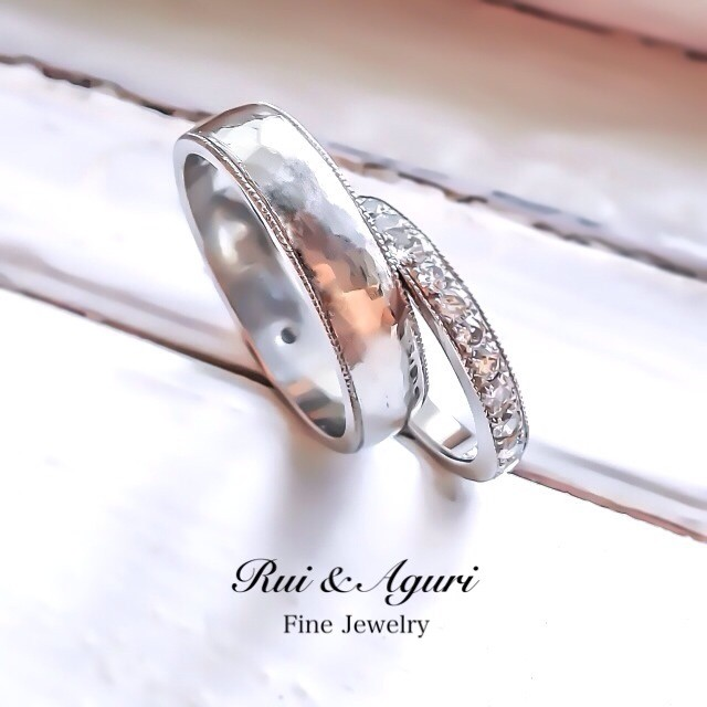 birthstone diamond milgrain platinum wedding rings Rui & Aguri Fine Jewelry