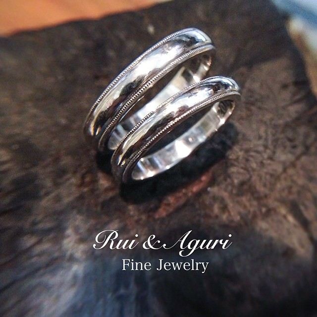 milgrain platinum wedding rings Rui & Aguri Fine Jewelry