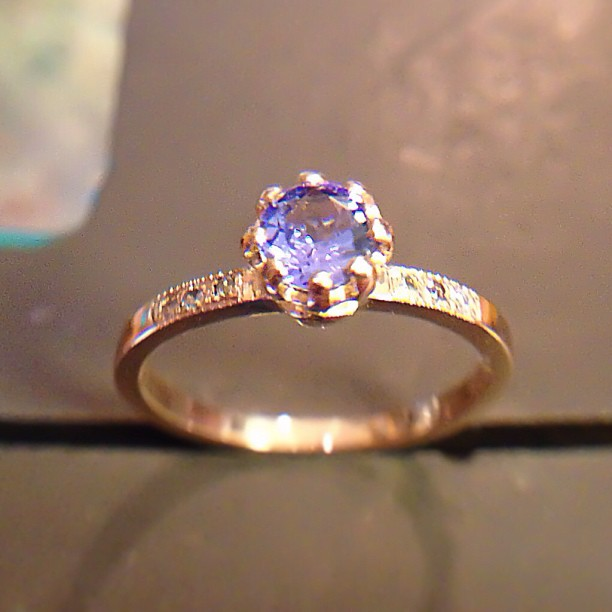 tanzanite diamond rose gold engagement ring Rui & Aguri Fine Jewelry