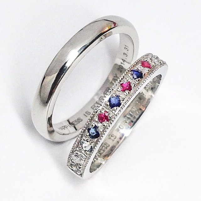 anniversary number motif diamond pulatinum wedding rings Rui & Aguri Fine Jewelry