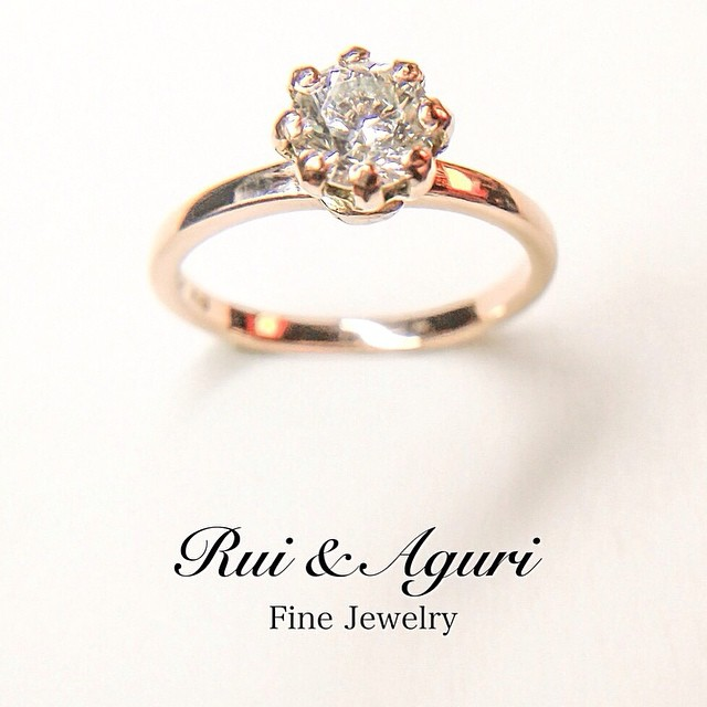 Diamond rose gold engagement ring Rui & Aguri Fine Jewelry